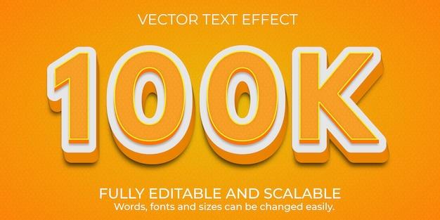 Premium vector 100k edytowalny efekt tekstowy