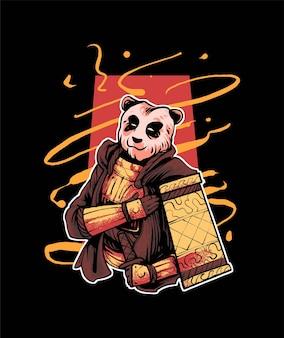 Premium wektorowa panda samurai ilustracja, w nowoczesnym stylu kreskówek, idealna na koszulki lub produkty do drukowania