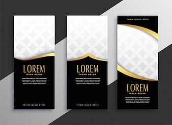 Premium zestaw złotych pionowych banerów
