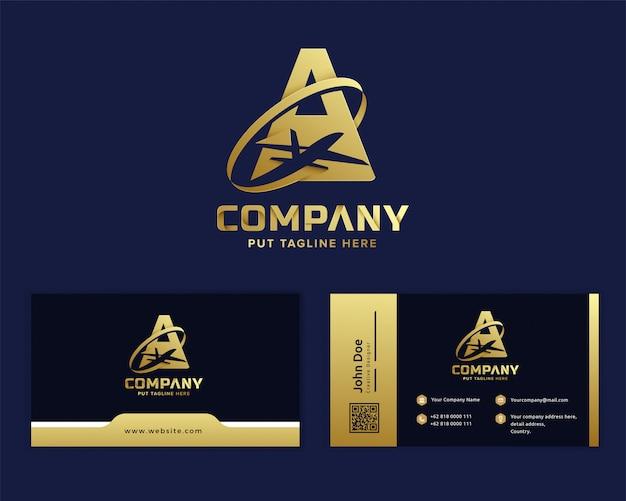 Premium złota litera a z samolotem logo szablon dla firmy