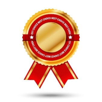 Premium złoto-czerwona etykieta bestsellera z napisem -best choice-. na białym tle na białym tle ilustracji