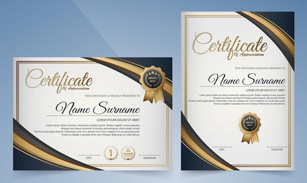 Premium złoty czarny i niebieski szablon certyfikatu
