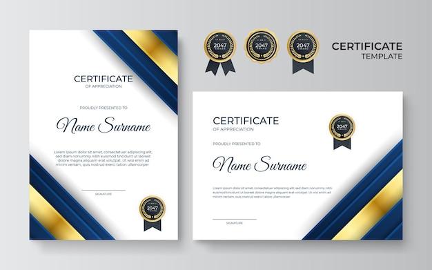 Premium złoty i niebieski szablon certyfikatu uznania, czysty nowoczesny design ze złotą odznaką