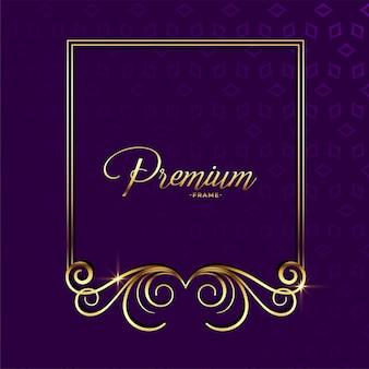 Premium złoty ozdobny kwiatowy tło ramki