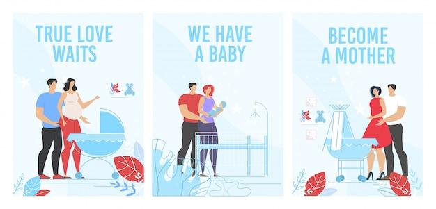 Prenatalne kursy macierzyńskie reklama pionowy zestaw plakatów