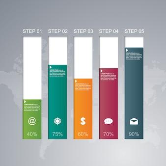 Prętowej mapy wykres kroczy diagram statystyczną biznesową infographic ilustrację