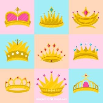 Pretty księżniczka korony w płaskim stylu