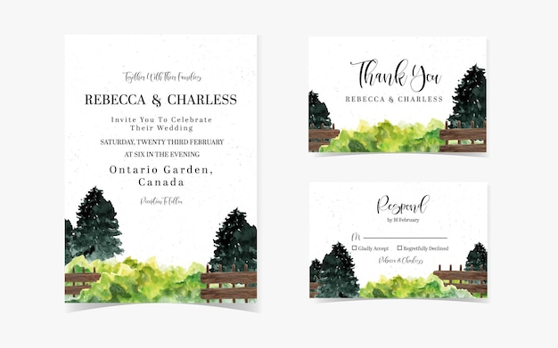 Pretty pine tree with fences wedding invitation suite