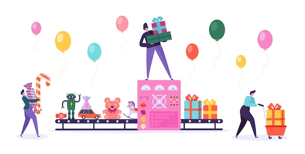 Prezent factory conveyor wrap christmas toy. zautomatyzowana linia produkcyjna present box. zestaw znaków ludzi candy bear na urodziny wakacje kalabracja płaski kreskówka wektor ilustracja