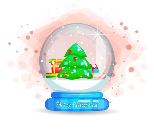 Prezent i choinka śnieg w szklanym kloszu