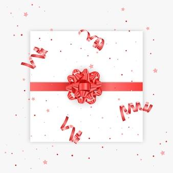 Prezent łuk realistyczne wektor ilustracja białe tło czerwona wstążka prezent ozdoba pudełko