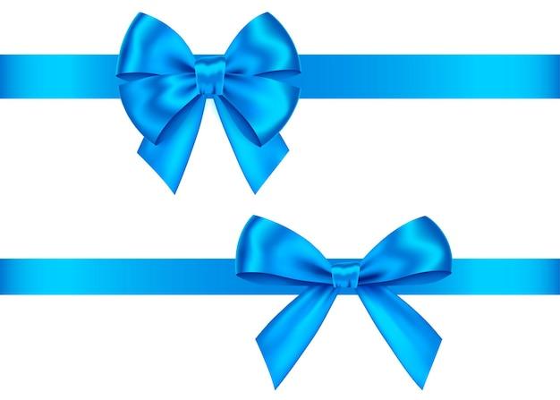 Prezent niebieski łuki zestaw na białym tle