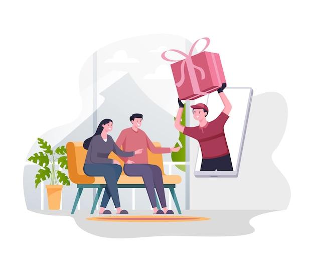 Prezent online, koncepcja ilustracji usługi płatności przy dostawie