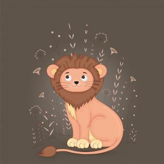 Prezent pocztówka z lwem zwierząt kreskówek. dekoracyjny kwiecisty tło z gałąź i roślinami.