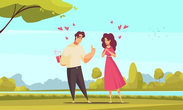 Prezent przedstawia romantyczną kompozycję miłosną z krajobrazem parku na świeżym powietrzu i płaskimi postaciami pary z ilustracją serca heart