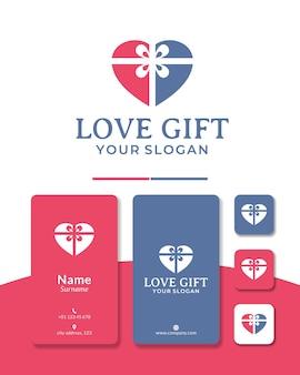 Prezent serce projekt logo miłość wstążka