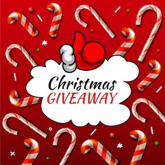 Prezent świąteczny, szablon z wzorami cukierków na konkurs świąteczny online.