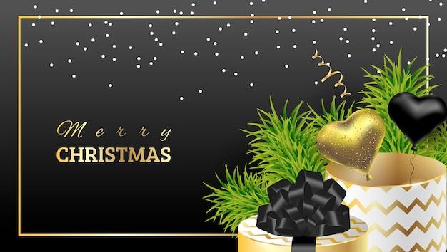 Prezent świąteczny z zielonymi gałązkami świerka
