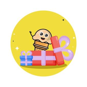 Prezent urodzinowy lody słodka maskotka postaci