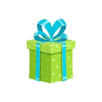 Prezent urodzinowy lub niespodzianka pudełko na prezent na białym tle wektor ilustracja kreskówka kostka upominkowa z
