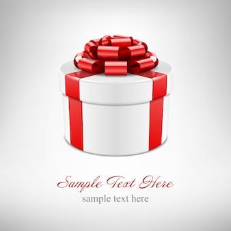 Prezenta pudełko z czerwonym łękiem i faborek odizolowywający na bielu z ilustracją