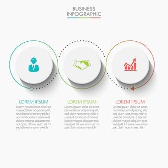 Prezentacja biznes infographic szablon z 3 opcjami.