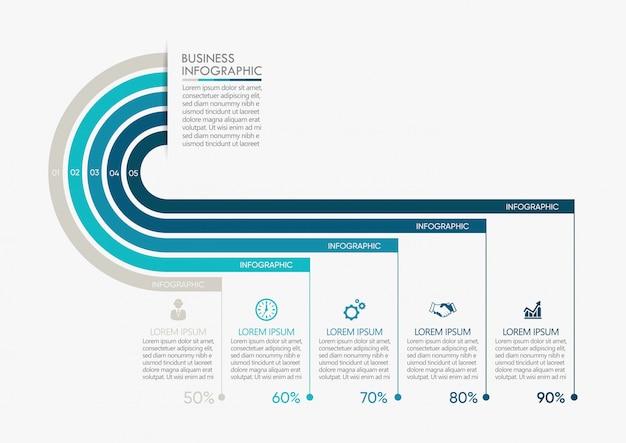 Prezentacja biznes infographic szablon z 5 opcjami.