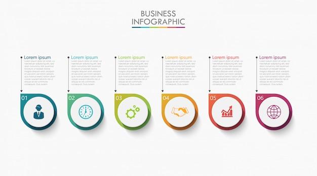 Prezentacja biznes infographic szablon z 6 opcjami.