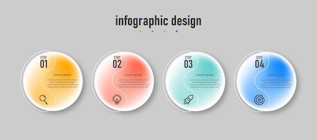 Prezentacja biznes kreatywny infografika projekt transparentnego szablonu efektu szkła z 4 opcjami