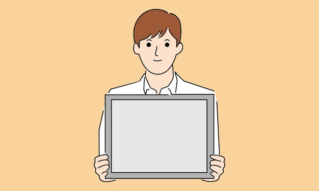 Prezentacja biznesmena, trzymając białą tablicę