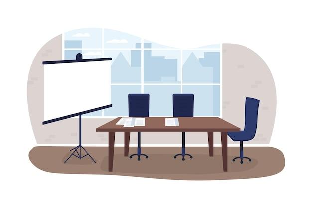 Prezentacja biznesowa 2d baner internetowy wektor, plakat. pokazuje raport na ekranie projektu. marketing planowania płaskiej sceny na tle kreskówki. naszywka do wydrukowania wnętrza korporacyjnego, kolorowy element sieciowy