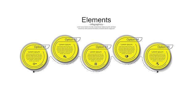 Prezentacja biznesowa infografika elementy koło z 5 krokiem