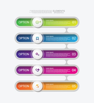 Prezentacja biznesowa infografika elementy kolorowe z 5 krokami