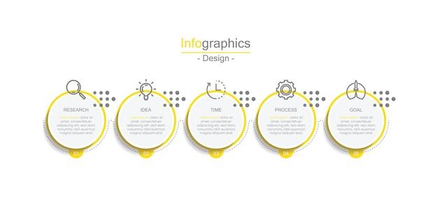 Prezentacja biznesowa infografika koło szablon z 5 krokami