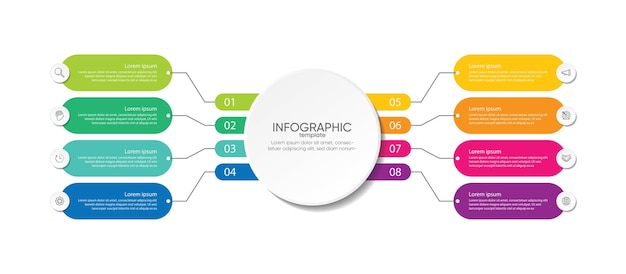 Prezentacja biznesowa infografika kolorowy szablon z krokami