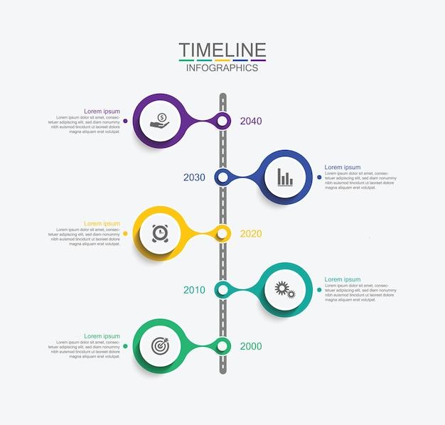 Prezentacja biznesowa infografika oś czasu z pięcioma krokami