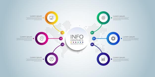 Prezentacja biznesowa infografika szablon koło kolorowe z sześcioma krokami