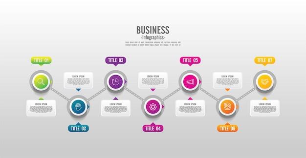 Prezentacja biznesowa infografika szablon kolorowy z krokiem 7
