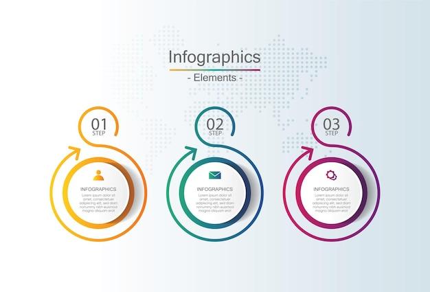 Prezentacja biznesowa infografika szablon z 3 krokami