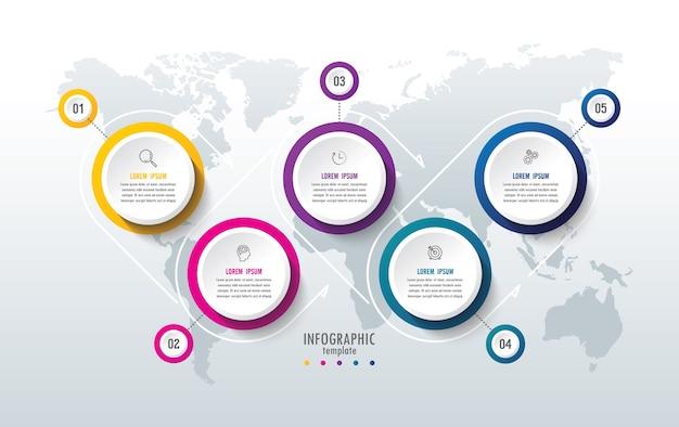 Prezentacja biznesowa infografika szablon z 5 krokami