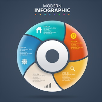 Prezentacja biznesowa infografika szablon z 5 opcjami