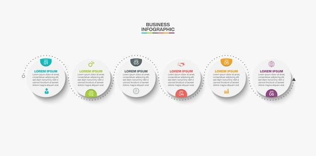 Prezentacja biznesowa infografika szablon z 6 opcjami.