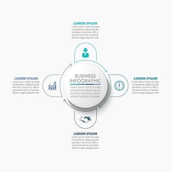 Prezentacja biznesowa infografika szablon z czterema opcjami.