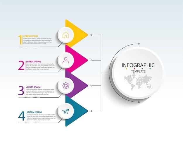 Prezentacja biznesowa infografika szablon z krokiem 4