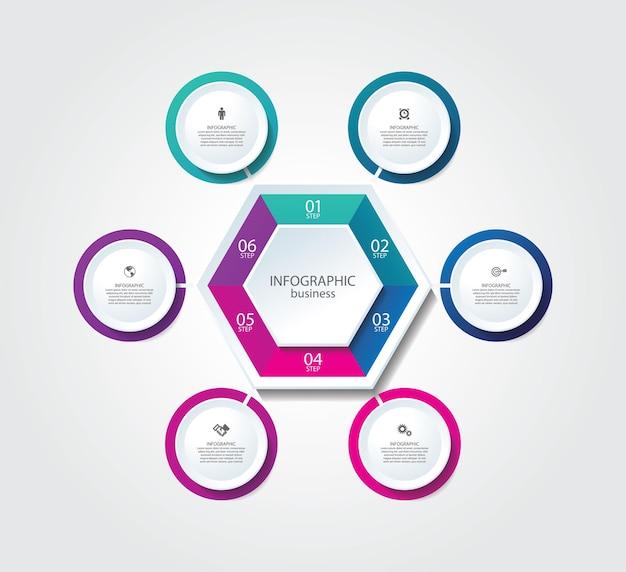 Prezentacja biznesowa infografika szablon z krokiem 6