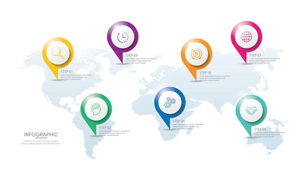Prezentacja biznesowa infografika szablon z krokiem 7