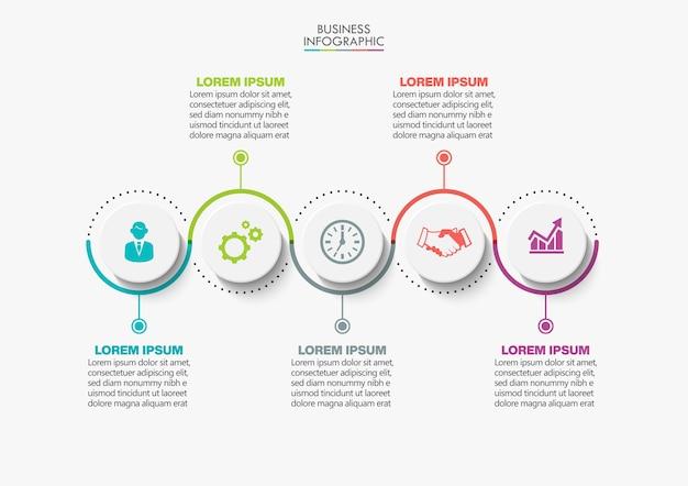 Prezentacja biznesowa infografika szablon z pięcioma opcjami.