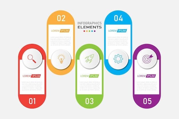 Prezentacja biznesowa infografiki szablon z 5 opcjami.