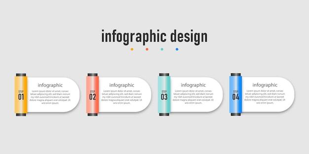 Prezentacja biznesowa kreatywna infografika projekt transparentnego szablonu efektu szkła z 4 opcjami