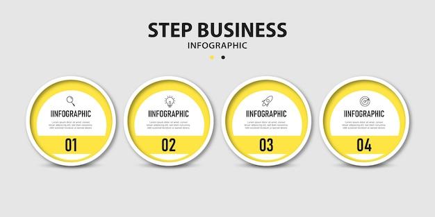 Prezentacja biznesowa okrągła linia czasu kroki informacje projekt szablonu grafiki
